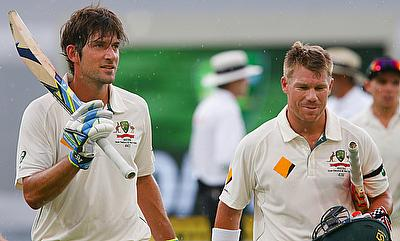 Joe Burns (left) and David Warner (right) added 237 runs for Australia in 37.4 overs on day three of the first Test in Brisbane.