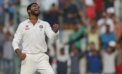 Ravindra Jadeja celebrating India's victory over South Africa on day three of the first Test in Mohali.