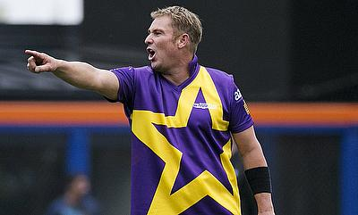 Shane Warne led from the front as he took three wickets, including that of Sachin Tendulkar and Brian Lara as Warne's Warriors defeated Sachin's Blast