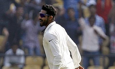 Ravindra Jadeja celebrating the dismissal of AB de Villiers in the first innings on day two of the third Test in Nagpur.