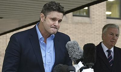 Chris Cairns speaks to members of the media outside Southwark Crown Court in London, Britain on Monday.