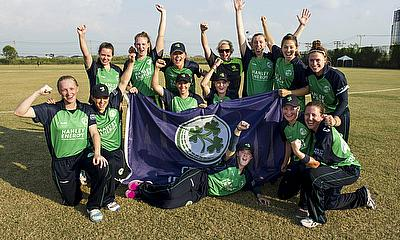 Ireland celebrate victory over Scotland and ICC WWT20 qualification