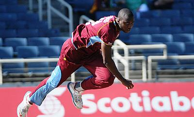 Miguel Cummins in action during his ODI debut against Ireland in 2014