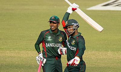 Zakir Hasan (right) celebrating his fifty against Nepal in the quarter-final.