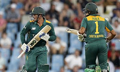 Quinton de Kock (left) and Hashim Amla (right) shared a 239-run opening stand during the chase.