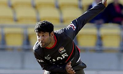 Mohammad Naveed registered figures of 14 for three in the four overs for the UAE.