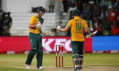 Kyle Abbott (left) and David Miller (right) celebrating the victory.