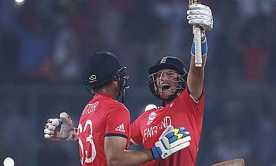 Joe Root (right) has scored 195 runs from the five games in the tournament thus far.