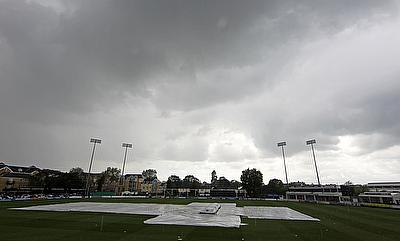 The pitch at the County Ground remained under covers throughout the day.