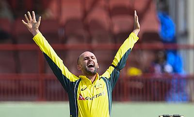 Nathan Lyon successfully appeals against Marlon Samuels.