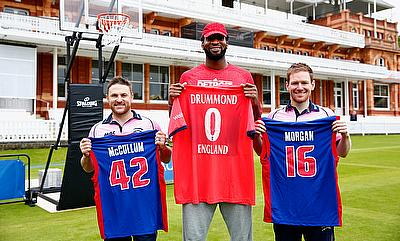 Brendon McCullum (left), Andre Drummond (centre) and Eoin Morgan (right) at Lord's Cricket Ground.