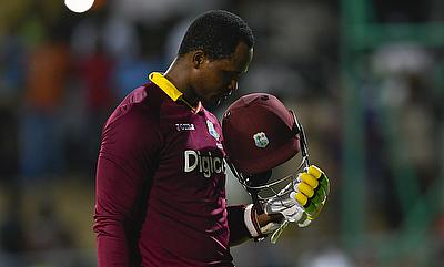 Marlon Samuels knock came in 87 deliveries and included eight boundaries and four sixes.
