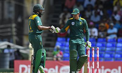 The victory for South Africa was set by a massive 182-run opening stand between Hashim Amla (left) and Quinton de Kock (right).