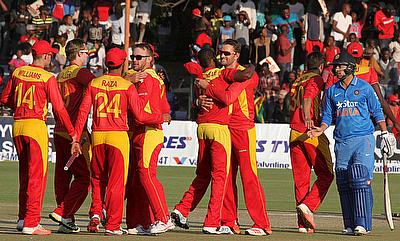 Zimbabwe players celebrating the victory over India in the first T20I in Harare.
