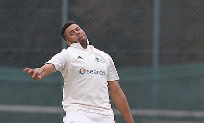 Tyrone Lawrence bowling - he took four wickets