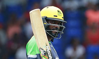 Chris Gayle celebrating his fifty for Jamaica Tallawahs.
