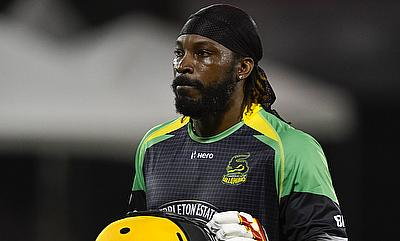 Chris Gayle celebrating his century for the Jamaica Tallawahs.