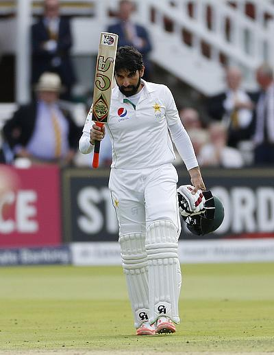 Misbah celebrates his century at Lord's