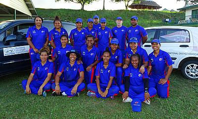 A happy Samoa team following their victory
