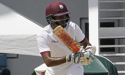 Kraigg Brathwaite in action for West Indies on day three.