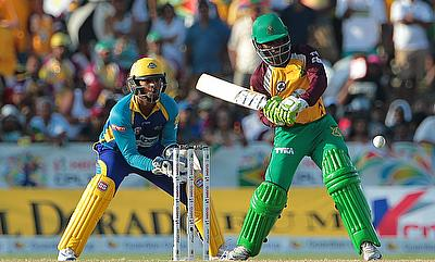 Jason Mohammed (right) smashed five sixes during his knock of 57.