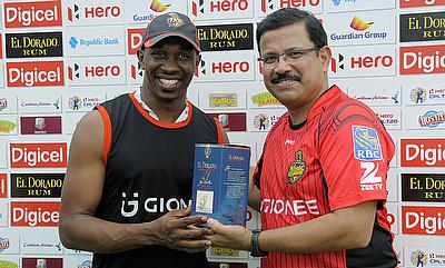 Dwayne Bravo (left) was awarded the man of the match for his four-wicket haul.
