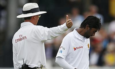 Nuwan Pradeep (right) picked two wickets in the first Test.