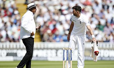 James Anderson (right) was warned twice for running on the pitch on day two.