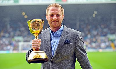 Andrew Gale parades the County Championship trophy at Villa Park in 2014 - now he has eyes on a third success in a row