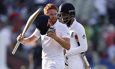 England's Jonny Bairstow and Moeen Ali at the end of the days play