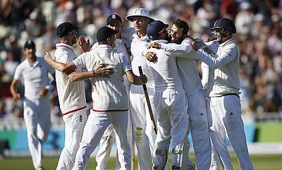 England players celebrating victory over Pakistan in the third Test in Birmingham.