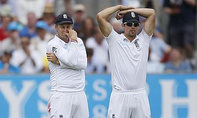 Alastair Cook (right) reacts after a missed chance in the fourth Test.
