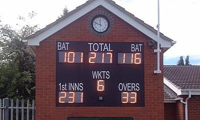 Durant's electronic scoreboards are used by many clubs - this is Aveley CC