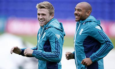 David Willey (left) and Tymal Mills (right) during nets.