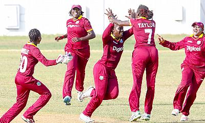 West Indies Women team celebrating the victory over England Women in the second ODI in Jamaica