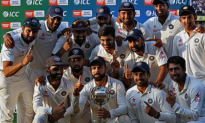 Indian team celebrating 3-0 series win over New Zealand.