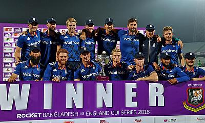 England players celebrating the series victory over Bangladesh.