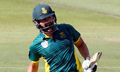 Rilee Rossouw celebrating his century in the fifth ODI against Australia.