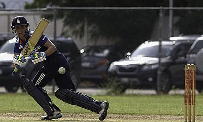 Natalie Sciver in action for England Women during the fifth ODI against West Indies in Jamaica