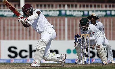 Kraigg Brathwaite (left) in action for West Indies