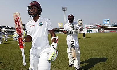 Kraigg Brathwaite (left) was named the man of the match