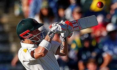 David Warner attempts to hit a six during day one of the Perth Test