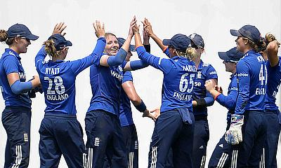 Beth Langston celebrating her maiden ODI wicket