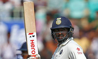 Ravichandran Ashwin celebrating his fifty on day two of the Vizag Test