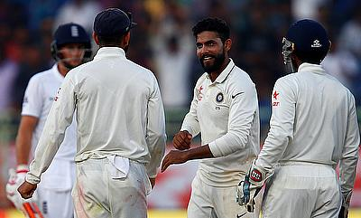 Ravindra Jadeja celebrating the wicket of Alastair Cook