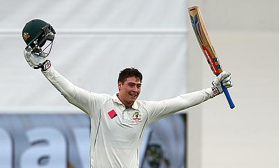 Matt Renshaw celebrating his maiden Test century