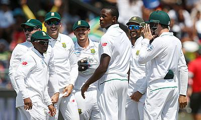 Kagiso Rabada celebrating a wicket during the second Test against Sri Lanka in Cape Town