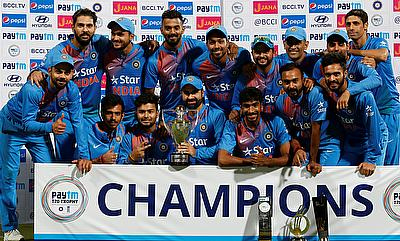 Indian team celebrating the T20I series win
