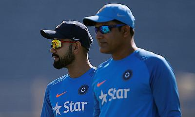 Anil Kumble (right) in a practice session along with Virat Kohli