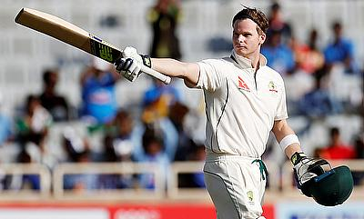 Steve Smith celebrating his century on day one of Ranchi Test